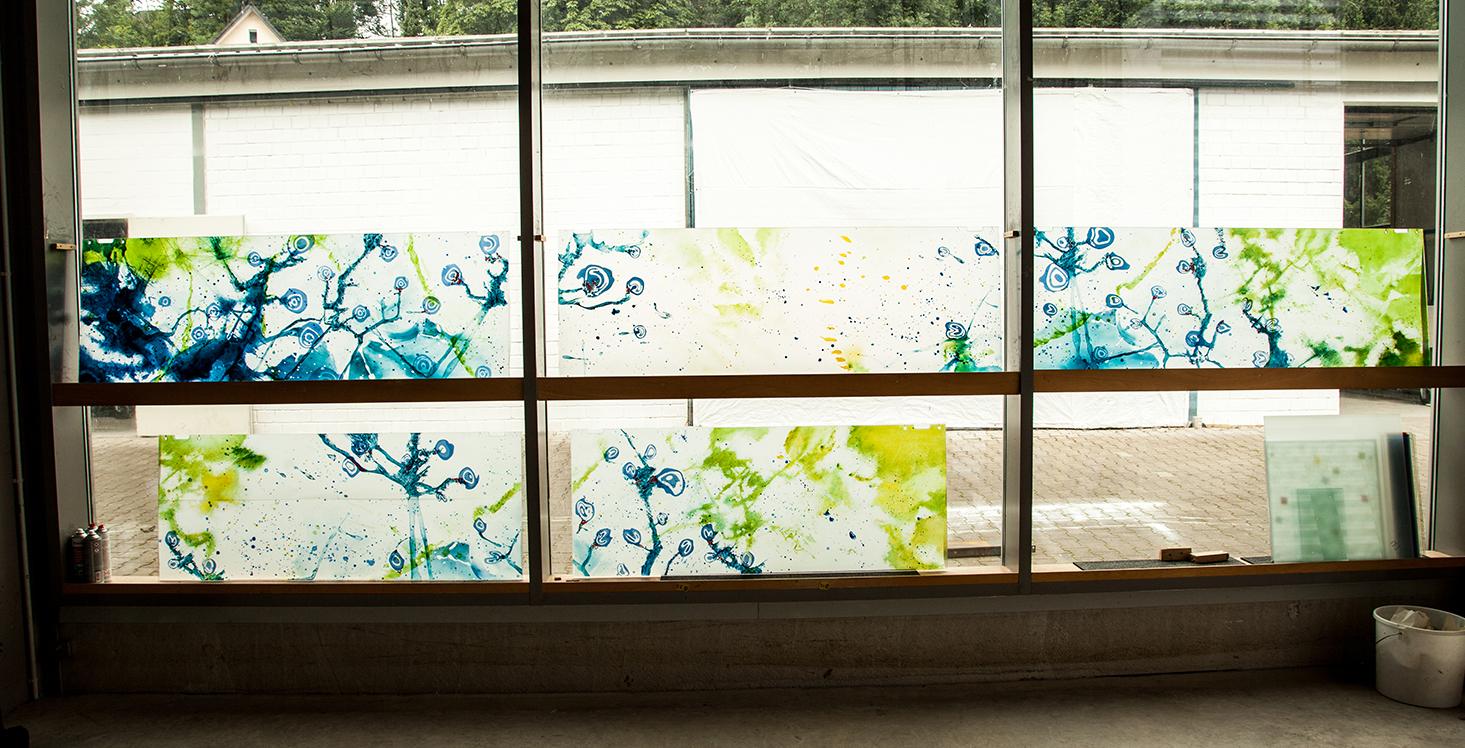 Oberlichter aus Glas Kunst am Bau