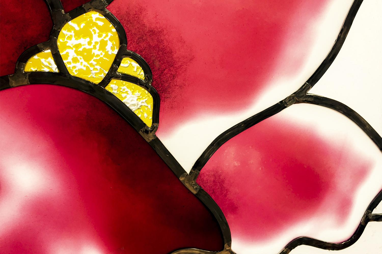 Glaskunstwerk Magnolien Bleiverglasung